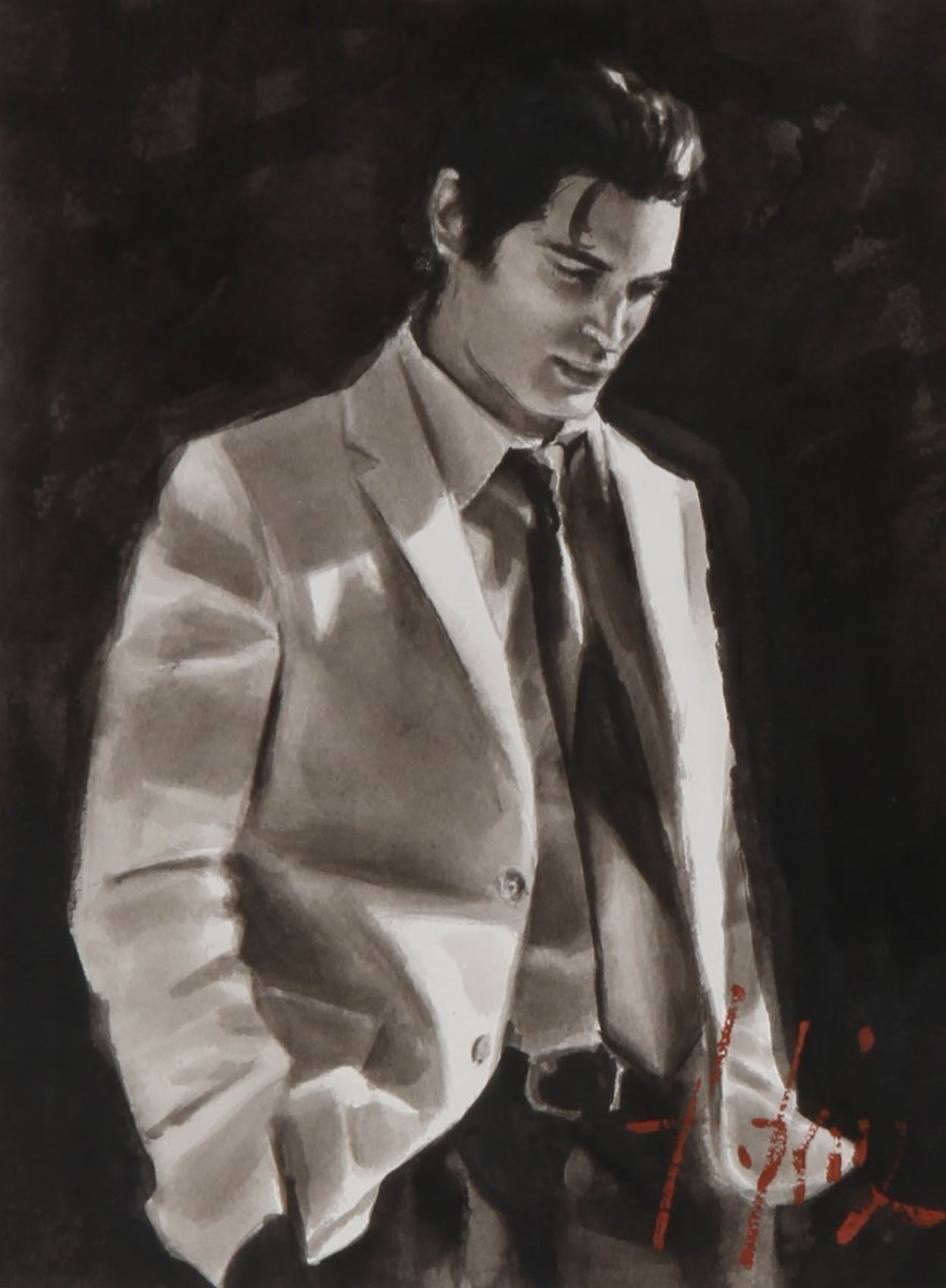 Marcus at Las Brujas (White Suit) (Ink) by Fabian Perez - Ink on Paper sized 12x16 inches. Available from Whitewall Galleries